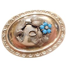 OLD & Very Sweet Antique Victorian 9ct Gold Turquoise Flower Brooch PIN