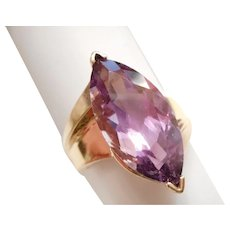 BIG - Vintage 10kt Yellow Gold & LARGE Amethyst Marquise Solitaire RING