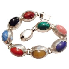 MIXED GEMS Vintage Mexican Sterling Silver & Gemstone Link BRACELET
