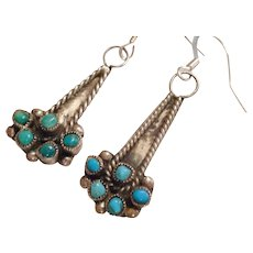 OLD PAWN Vintage Snake Eye Turquoise & Sterling Silver Drop EARRINGS