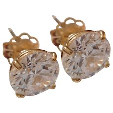 FULL OF FIRE Vintage 1/2ct CZ & 14kt Yellow Gold Stud Earrings