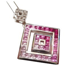 STUNNING Vintage 10kt White Gold Diamond & PINK Sapphire Drop Pendant NECKLACE
