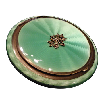 MOST STUNNING Vintage Art Deco Sterling Silver & Guilloche Enamel Ladies COMPACT