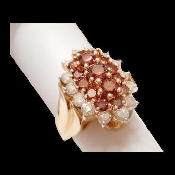MOST SPECTACULAR Vintage 14kt Gold FANCY Orange & White Diamond Cluster Cocktail RING