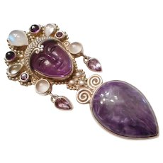 MOST FANCY Vintage Sterling Silver Carved Face Amethyst Moonstone & Charoite Pin Pendant By SAJEN