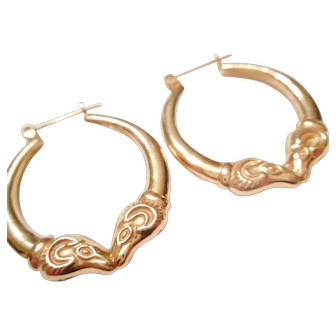 "LARGE 1"" Across Vintage 14kt Yellow Gold RAM HEAD Hoop Earrings"