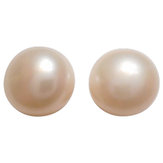 FANTASTIC Vintage 14kt Yellow Gold Cultured PEARL Stud Earrings in Gift BOX