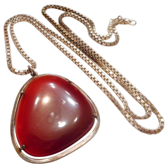 FINEST Gem Grade Vintage Carnelian & Sterling Silver Pendant NECKLACE