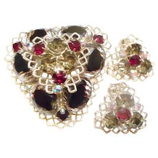 DAZZLING 1950s Vintage Unusual Rhinestone Pin & Clip Earrings - SET