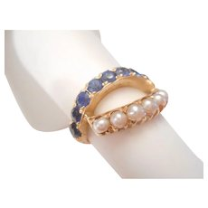 Fabulous 1950s Vintage Natural Blue Sapphire & Cultured Pearl Band RING