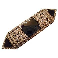 ORIGINAL 1920s Vintage Art Deco Black Onyx & Paste Sterling Silver PIN