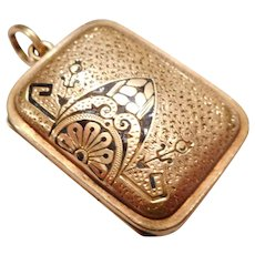 EARLY 1870s Antique Victorian 14kt Gold & Black Enamel Necklace LOCKET Pendant