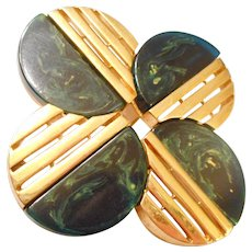 MASSIVE 1960-70 Vintage Space Age Blue Bakelite & Gold Toned Pin by TRIFARI
