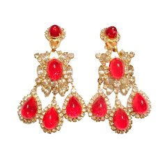 THEATRICAL 1960S Vintage Kenneth J Lane KJL Red Rhinestone Chandelier Dangle EARRINGS