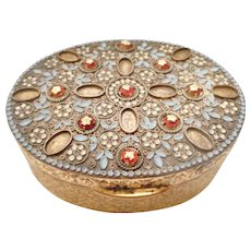 LARGE Antique / Vintage JEWELED & Enameled Italian Brass Trinket BOX