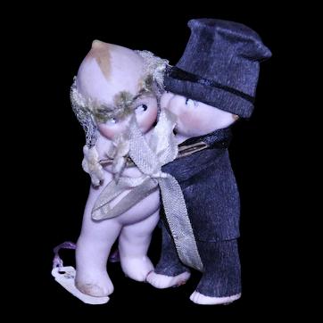 """Kewpie Bisque Bride and Groom Huggers 2 1/2"""" tall"""