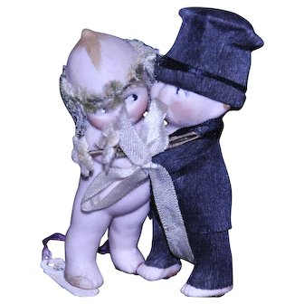"Kewpie Bisque Bride and Groom Huggers 2 1/2"" tall"