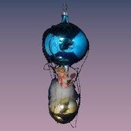 "6.5"" Mercury Glass West Germany Hot Air Balloon Cherub Gold Net Feathers"
