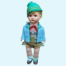 "13"" Vintage Celluloid German Boy Doll All Original Clothes Box"