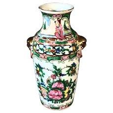 """7"""" Early 20th Century Rose Medallion Vase Artist Mark"""