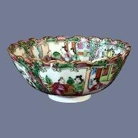 """Older 6"""" Rose Medallion Chinese Export Porcelain Footed Bowl"""