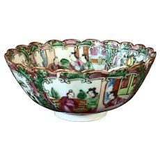"Older 6"" Rose Medallion Chinese Export Porcelain Footed Bowl"
