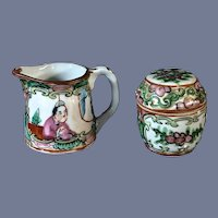 """10"""" Rose Medallion Chinese Export Porcelain Tiny Pitcher And Lidded Box"""