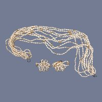 """17"""" Vintage Seed Pearl Gold-tones Bead Multi Strand Necklace"""