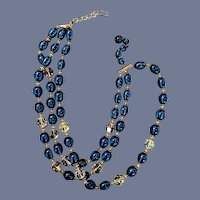 "13"" Vintage 3 Strand Trifari Necklace Blue Crystal Bead"