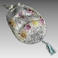 19th Century Drawstring Beaded Purse Greek Key Bird Unusual