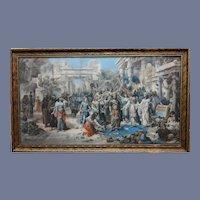 Original 19th Century Over Paint Print Emanuel Oberhausen Arrival of the King