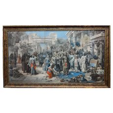 Original 19th Century Over Paint Print Emanuel Oberhausen Arrival of the King