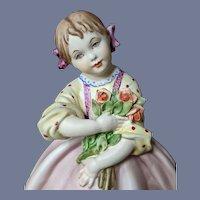 B. Merli Milano Ceramic d'Arte Pink Flower Girl Capodimonte
