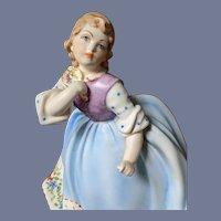 B. Merli Milano Ceramic d'Arte Blue Flower Girl Capodimonte