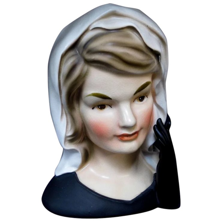Inarco E 1852 Jackie Kennedy In Mourning Lady Head Vase Sold Ruby Lane