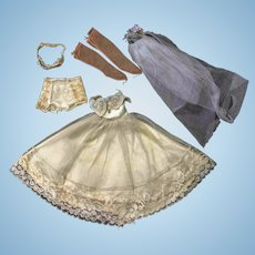 "Ivory Wedding Dress Veil Bra Undies  10"" Jill Revlon or Other 10"" Fashion Doll"