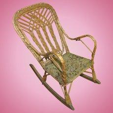 """12"""" Vintage WIcker Doll Rocker Rocking Chair"""