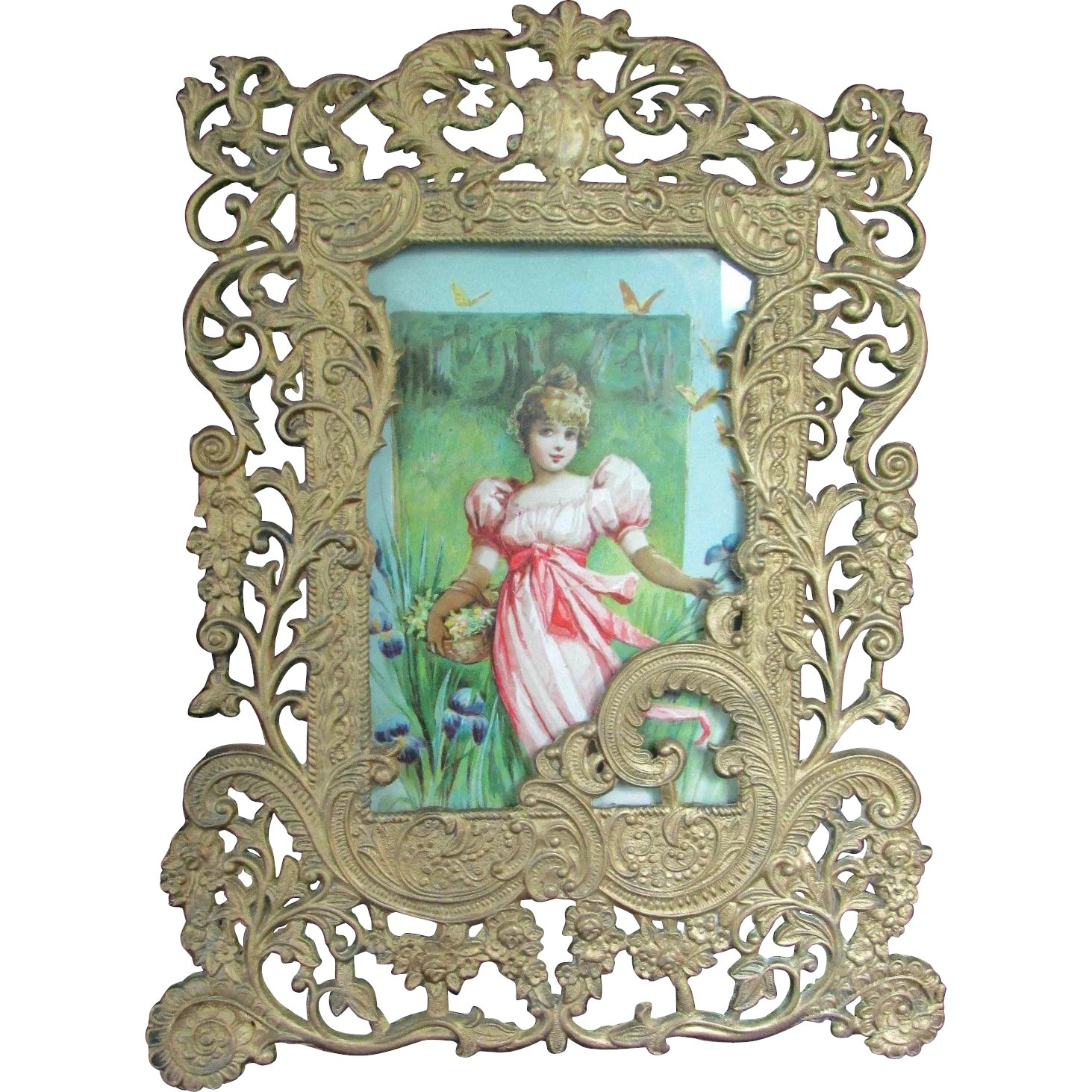 12 gold tone or gilt victorian frame with print of woman david fair on the square ruby lane. Black Bedroom Furniture Sets. Home Design Ideas