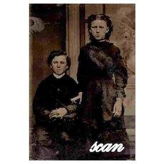 Tintype Ferrotype Brother Sister Boy Girl 19th Century