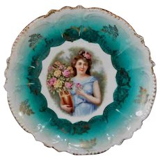 "8.75"" Beautiful Blue Green Plate Greek Woman with Vase Flowers Germany - Red Tag Sale Item"