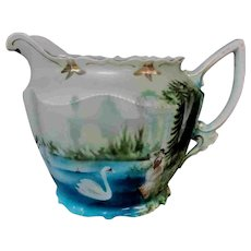 """6.5"""" Old and Beautiful Hand painted Large Porcelain Water Pitcher Swans Woman"""