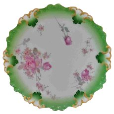 "Lovely 9.5"" Green with Roses Limoges Tressemann & Vogt T.V. Plate"