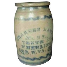 "10"" Antique Charles Laue, Wheeling, West Virginia Stoneware Merchant Jar Crock"