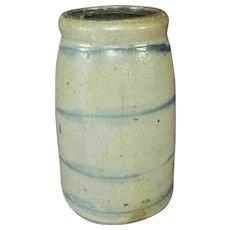 "8"" Antique Western Pennsylvania Stoneware Canning Jar 4 Stripes"