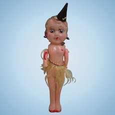 "7"" Celluloid Carnival Fair Flapper Doll Hat Cane Skirt"