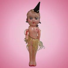 "7"" Celluloid Carnival Fair Flapper Doll Hat Cane Skirt"