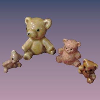 Christmas Sale 4 PC China Glass Animals Teddy Bears