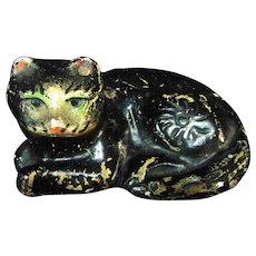 1930s or 1940s Chalkware Kitty Cat Black Grey