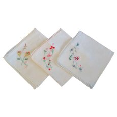 Set of 3 Vintage Cotton Embroidered Hankie Handkerchief