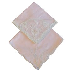 PR Pink Vintage Lace Embroidered Cotton Hankie Handkerchief - Red Tag Sale Item